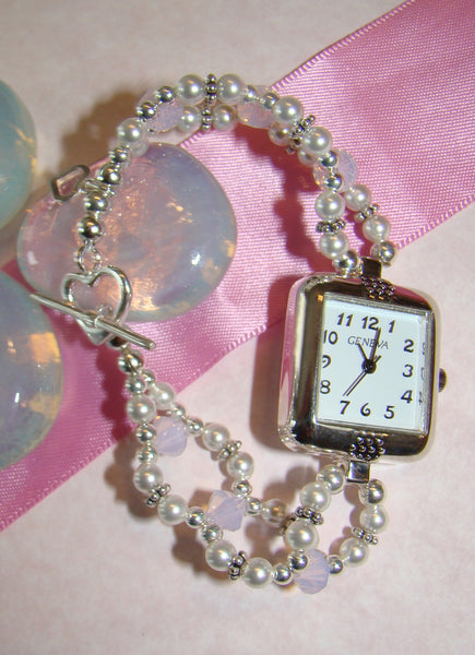 All White Pearls and Swarovski Crystal Birthstones Watch
