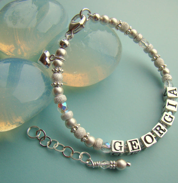Precious Metal All Matte Stardust Sterling Silver April Birthstone Name Bracelet
