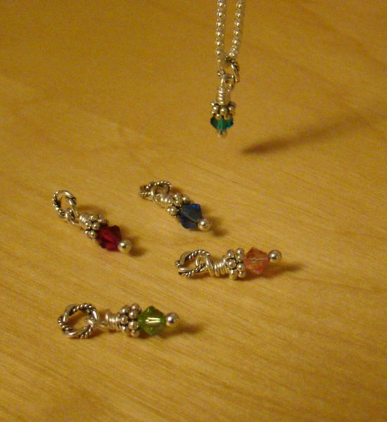 Twisted Bali Charm Sterling Silver Family Mother Birthstone Necklace