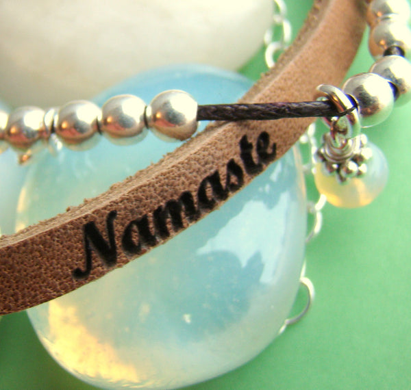 Engraved Leather Wrapped Personalized Message Birthstone Name Bracelet