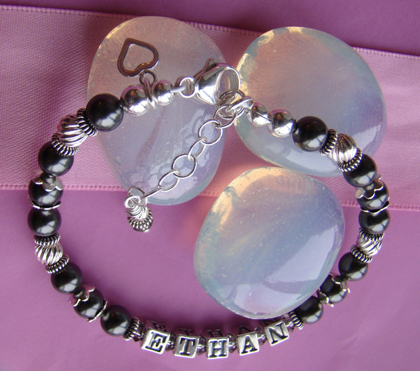 Swarovski Crystal Pearls White Black or Pink Bali Silver Custom Name Bracelet