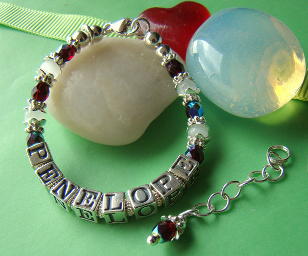 White Cat Eye January Garnet Birthstone Baptism Christening Cross Charm Name Bracelet