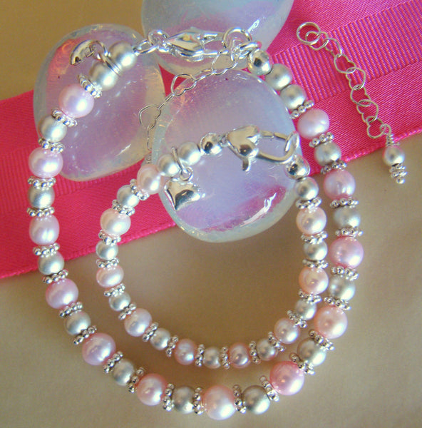 Mother Daughter Pink Pearl Bracelets with Matte Sterling Silver