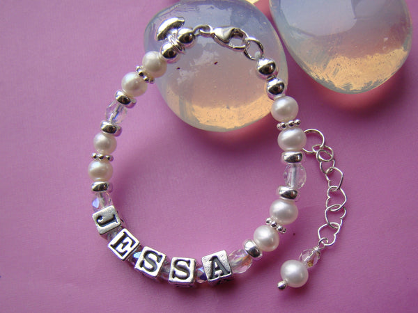 Custom Girl Child Baby Name Birthstone Bracelet Sterling Silver White Pearls