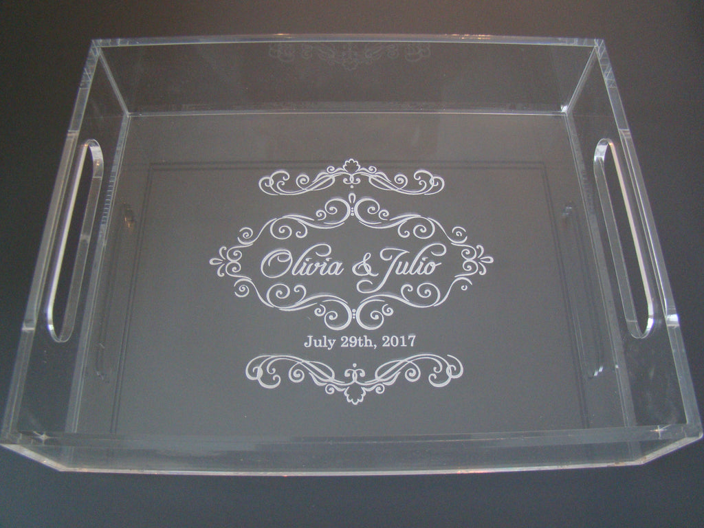 Elegant Clear Glass Like Custom Engraved Personalized Jewelry Tray