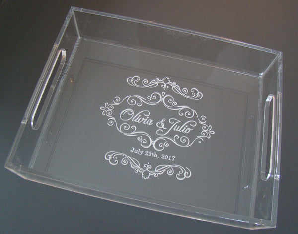 Elegant Clear Glass Like Custom Engraved Jewelry Tray
