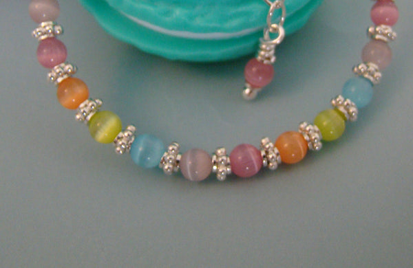 All Bright Sterling Silver Multicolor Pastel Colored Cat Eye Bracelet - Add A Name