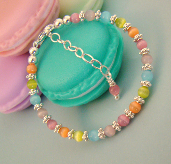 Pastel Colored Cats Eye Sterling Silver Fun Colorful Little Girls Bracelet