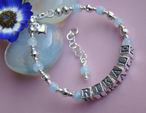 Aquamarine March Gemstone Birthstone Sterling Silver Mirrored Bead Name Bracelet