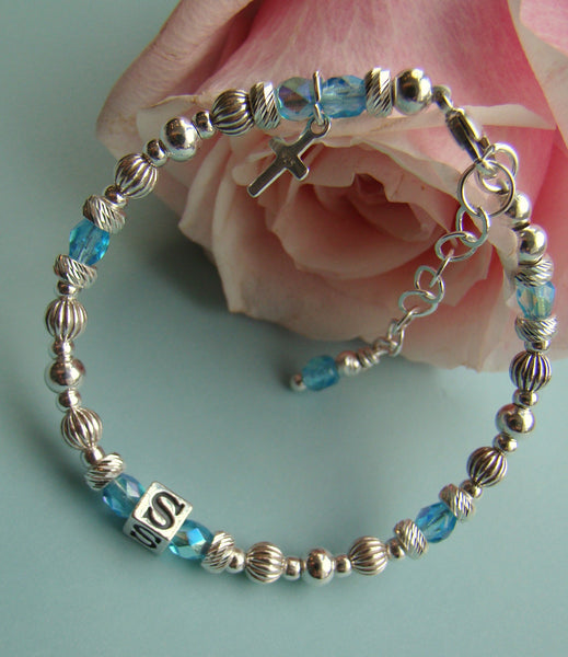 Sterling Silver Fire Czech Crystal Birthstone Baby Baptism Christening Monogram Name Bracelet
