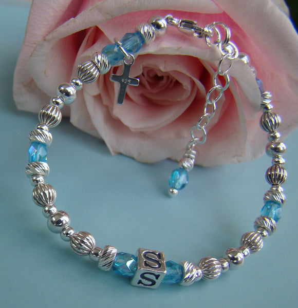 Sterling Silver Fire Czech Crystal March Aquamarine Birthstone Baptism Christening Name Bracelet