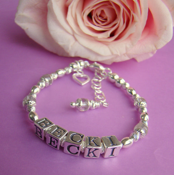 Sterling Silver Traditional April Crystal Gemstone Birthstone Fancy Twists Name Bracelet