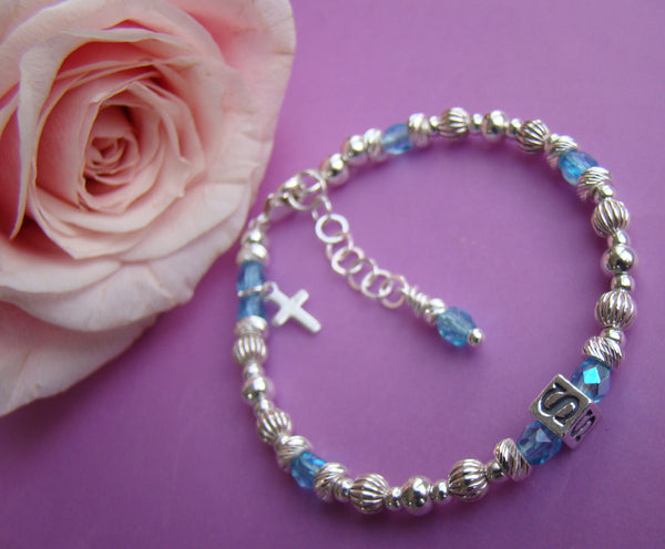 Sterling Silver Fire Czech Crystal March Aqua Birthstone Baptism Christening Name Bracelet