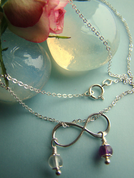 Infinity Charm Sterling Silver Grade A Natural Gemstone Double Birthstone Charm Necklace 19""