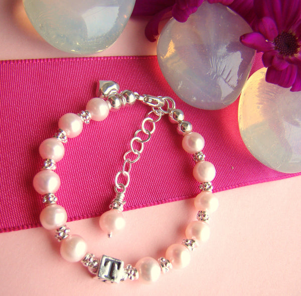 All Pink Natural Pearl Heart Charm Baby Monogram Name Bracelet