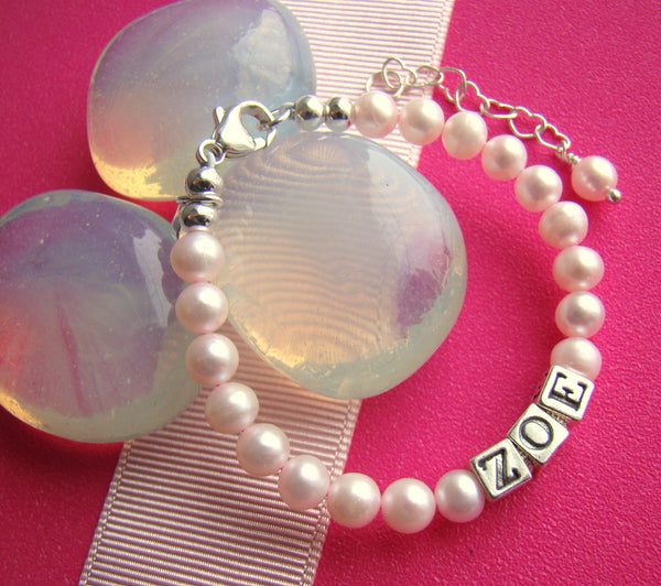 Pink Freshwater Cultured Pearls Baby Girl Name Bracelet