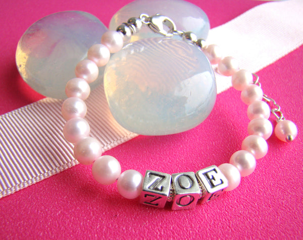perfect pink freshwater round pearls girls name bracelet