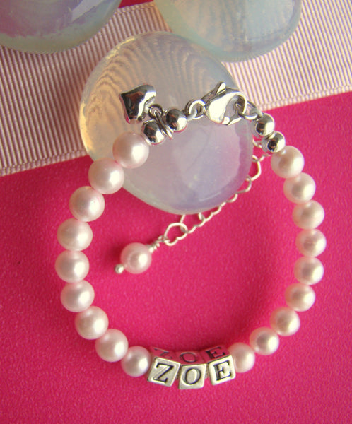 Sterling Silver Pink Pearls Baby Heart Charm Bracelet