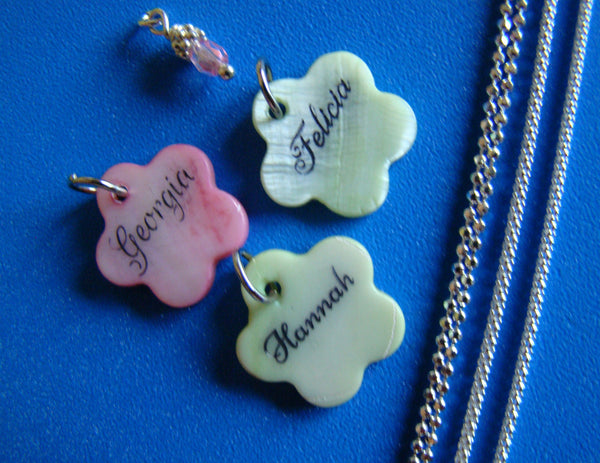Engraved Mother Of Pearl Shell 20mm Pink or Green Flower Custom Name Pendant