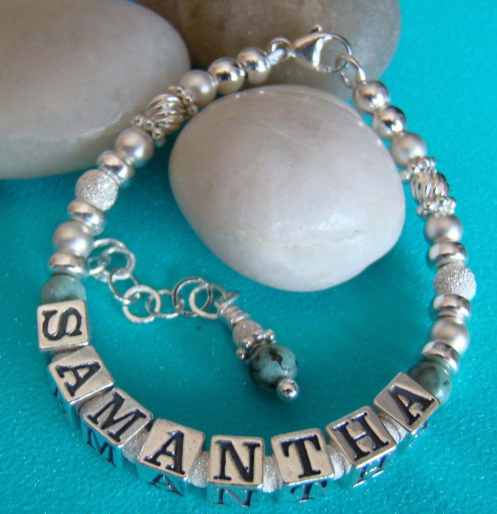Sterling Silver Turquoise December Birthstone Name Bracelet