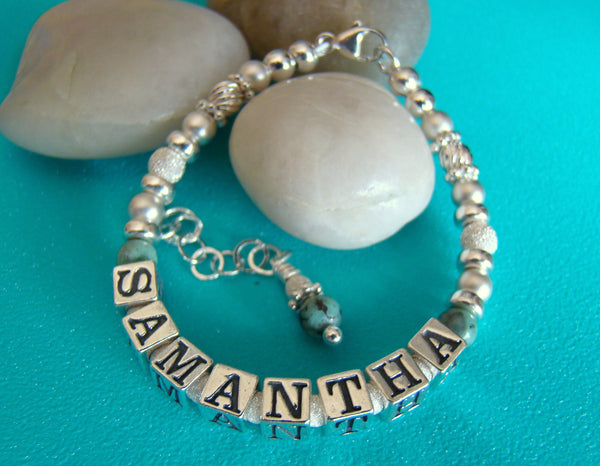 December Gemstones Natural Grade A Turquoise Custom Name Bracelet