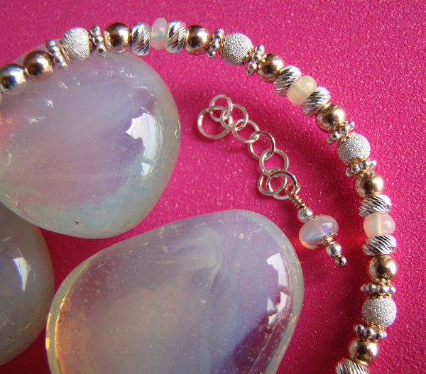 Ethiopian White Opal Birthstone October Bracelet