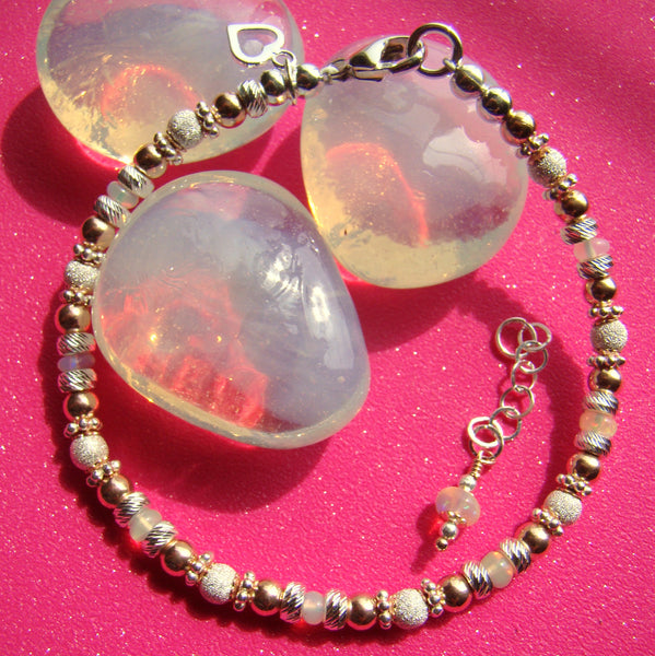 Rose Gold and Fancy Silver Mix Natural Ethiopian White opal Gemstone Birthstone Bracelet