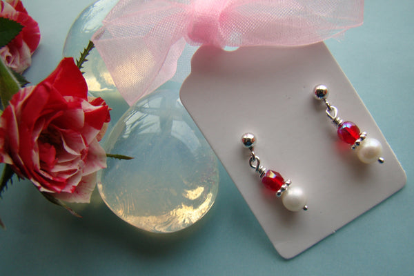 matching birthstone drop sterling silver earrings july ruby