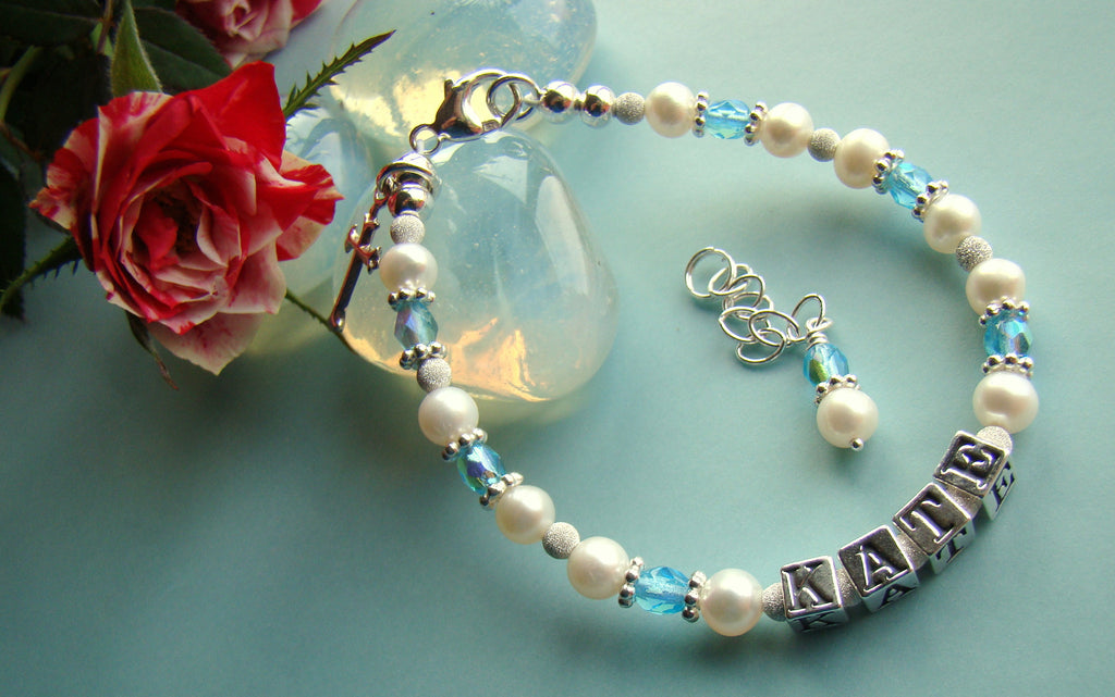 March Aquamarine White Pearls Religious First Communion Baptism Name Birthstone Bracelet