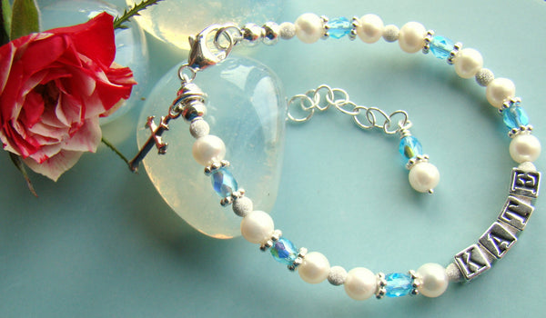 Baptism Christening Cross Pearl Aquamarine March Birthstone Baby Name Religious Bracelet