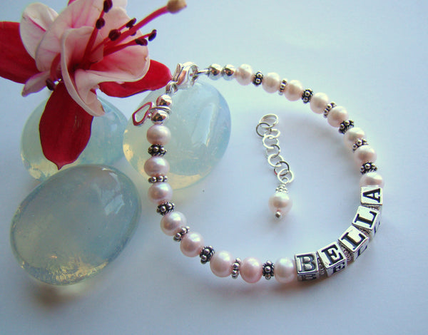 Light Pink Pearls Little Girl Child Baby Sterling Silver Name Bracelet