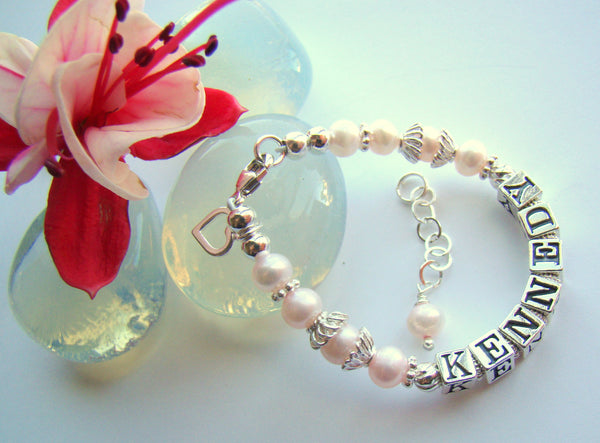 Soft Pink Pearls Heart Charm Baby Child Name Personalized Bracelet