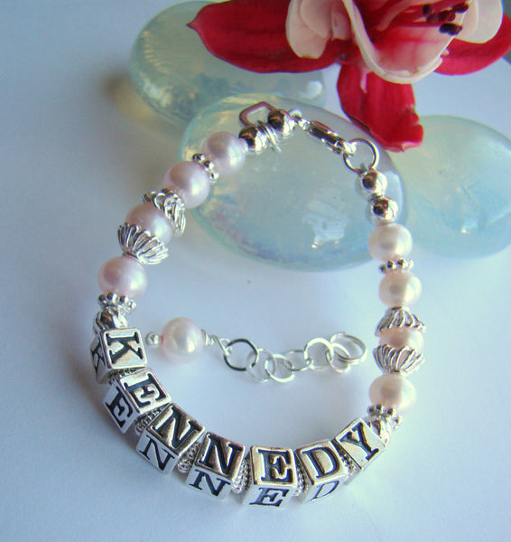 Custom Baby Name Girls Pink Pearl Bracelet