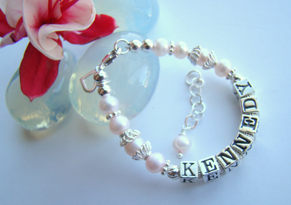 Sterling Silver Pink Pearls Girls Custom Name Bracelet