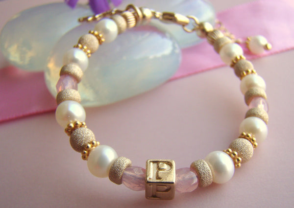 Sparkling All Bright Gold Filled Birthstone Initial Monogram Bracelet