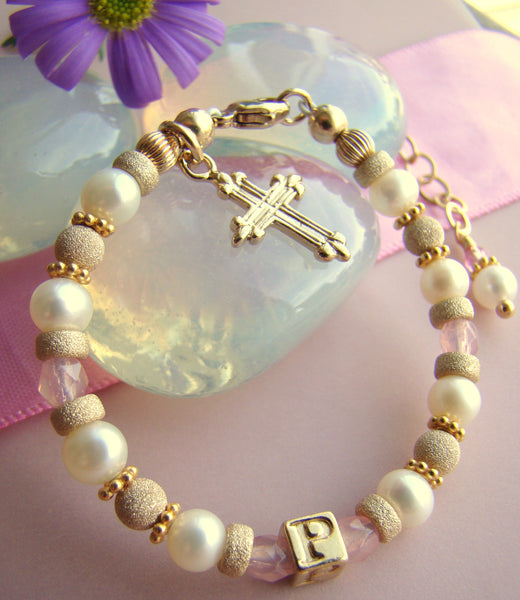All Gold Filled Pearl Birthstone Baptism Religious Initial Monogram Bracelet