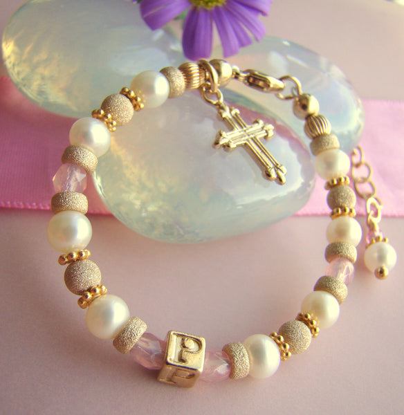 Gold Filled Pearl and October Rose Birthstone Personalized Monogram Initial Baby Girl Cross Charm Bracelet