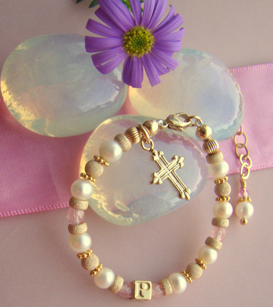 Gold Filled Pearl and October Rose Birthstone Personalized Monogram Initial Baby Girl Religious Bracelet