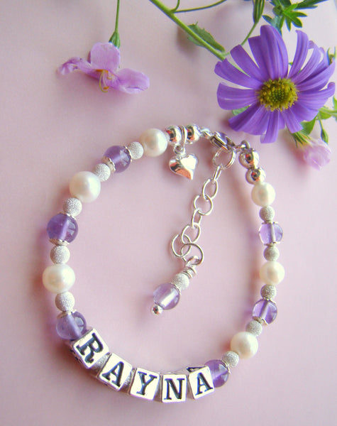 White Pearls Stardust Silver Light Amethyst June Birthstone Name Bracelet