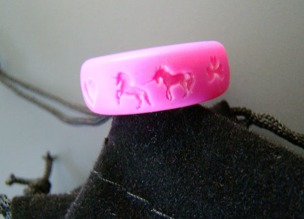 Custom Unicorn Image Silicone Ring Pink Band