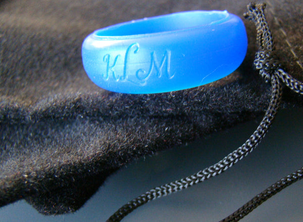 Custom Monogram Initials Silicone Ring Band Blue