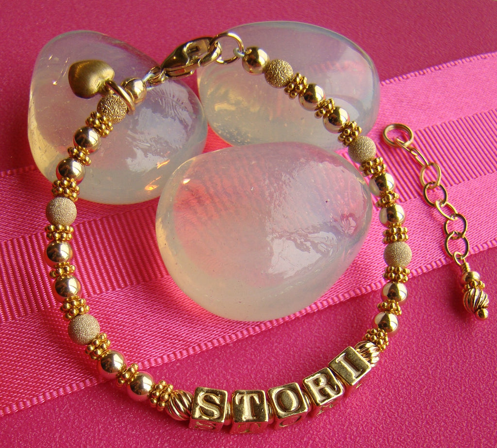 All Gold Filled Satin and Stardust Beaded Baby Name Bracelet Puffed Heart Charm
