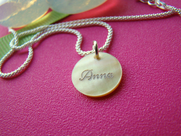 Mother of Pearl Shell Pendant Sterling Silver Personalized Name Necklaced Engraved