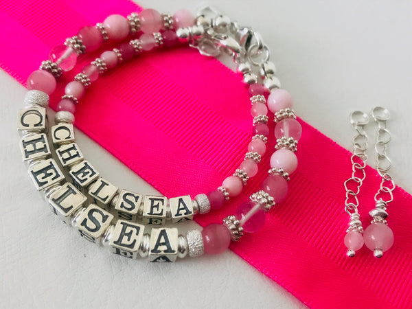 Mom and Daughter Soft Pink Gems Personalized Name Bracelets