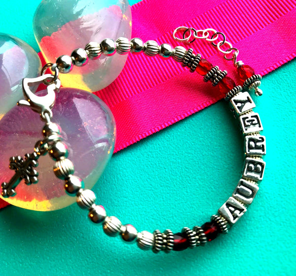 July Ruby Christening Birthstone Name Bracelet for Baby or Child