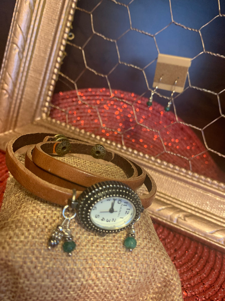 Genuine Emerald Gemstone and Brown Leather Three Strand Ladies Watch & Matching Sterling Silver Emerald Earrings