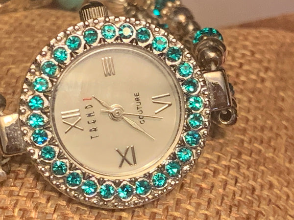 Sterling Silver December Birthstone Ladies Watch Swarovski Crystals Turquoise Crystals Size 6.0 XSmall