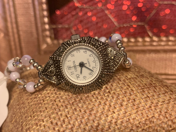 "Lavender Mother Of Pearl 7.5"" Average Size Ladies Sterling Silver Beaded Watch"