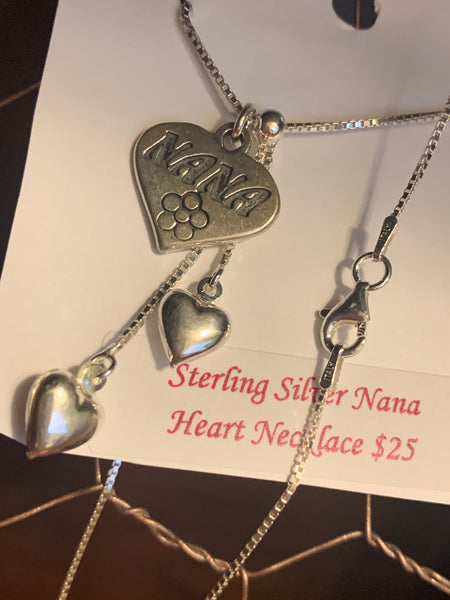 Sterling Silver Puffed Hearts with Nana Pendant Lariat 18 Inch Necklace