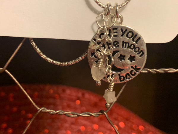 Sterling Silver 16 inch Love You to the Moon Necklace with Rose Quartz Stars